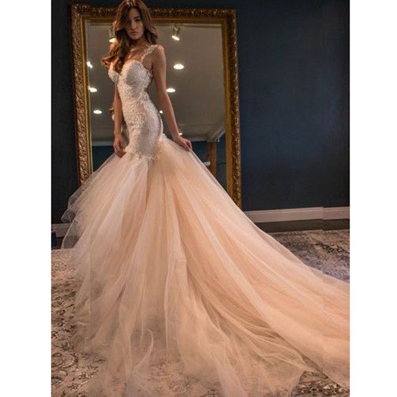 Pink Color Wedding Gown: Fabulous Mermaid Sheath Open Back Tulle Lace Wedding Dress