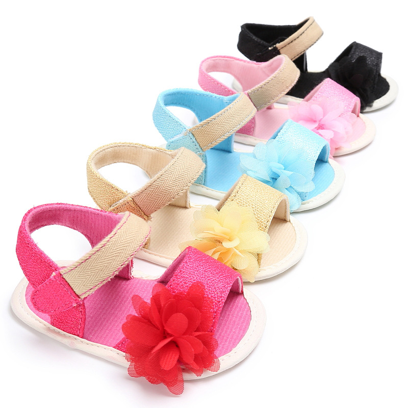 Baby Girls Sweet Flower Princess Sandal Todler Girls Soft Sole No-slip Canvas Shoes Summer Breathable Comfortable Casual Sandals
