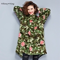 WHITNEY WANG Spring Autumn Fashion Streetwear Rose Print Camouflage Trench Coat Women Oversized windbreaker Plus Size