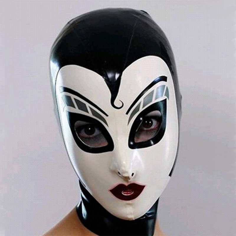 sexy lingerie exotic unisex Black Latex drama hoods Fetish Hood Rubber Mask Full Face with Back Zipper Cosplay Mask