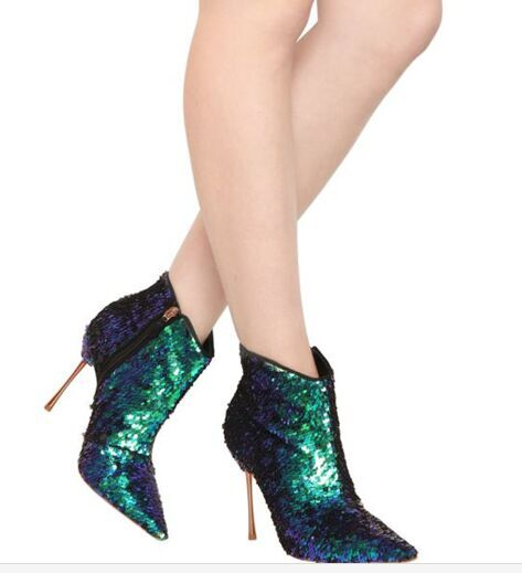 2018 Newest Mujer Bling Bling Multicolored Ankle Boots Sequined Wedding Party Dress Shoes Women Pointed Toe High Heel Booties promotion vintage round toe mid heel booties mujer fringe embellished ankle cowboy boots party vocation dress shoes women