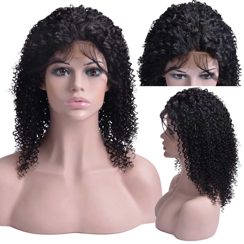 150% Densty синтетические волосы на кружеве человеческие волосы Искусственные парики для женщин Remy бразильский странный вьющиеся