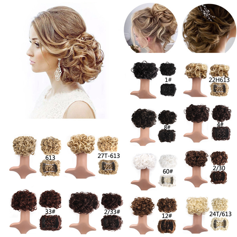 Curly Chignon Women's Synthetic Hair Bun Black Brown Hair Extension With Two Plastic Combs Clip In Hairpiece #277410