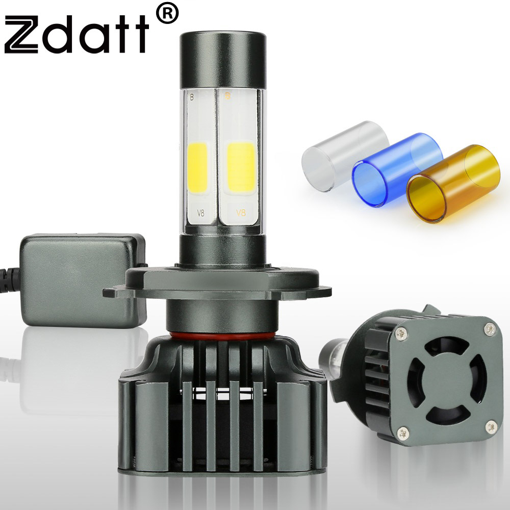 цена на Zdatt 12V 24V Headlight bulb H4 Led Bulb Canbus Lamp Car Light 9003 HB2 COB 100W 12000LM 3000K 6000K 8000K Filter Automobiles