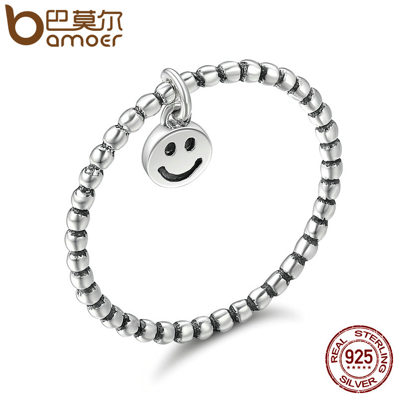 BAMOER Hot Sale 100% 925 Sterling Silver Lovely Smile Face Dangle Finger Rings for Women Sterling Silver Jewelry Gift SCR147 u pick fashion lovely smile face transparent tpu backpack