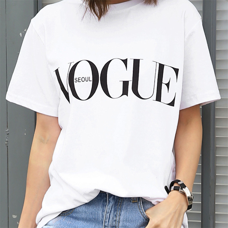 FIXSYS Fashion Letters Print Women T Shirt Summer Woman Short Sleeves Casual T Shirt Summer Ladies Tops Tee Cute Tee Cotton Tee