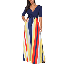 Summer Large Size Half Sleeve V-Neck Women's Maxi Dress Sexy Modal Long Loose Casual Striped Fashion  Patchwork Dress half sleeve color block striped maxi dress