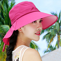 2016 New Lady Sun Hat Summer Sun Cap Women Folded Wide Brim Sun Cap Elegant Travelling Hat New Headwear   B-2275