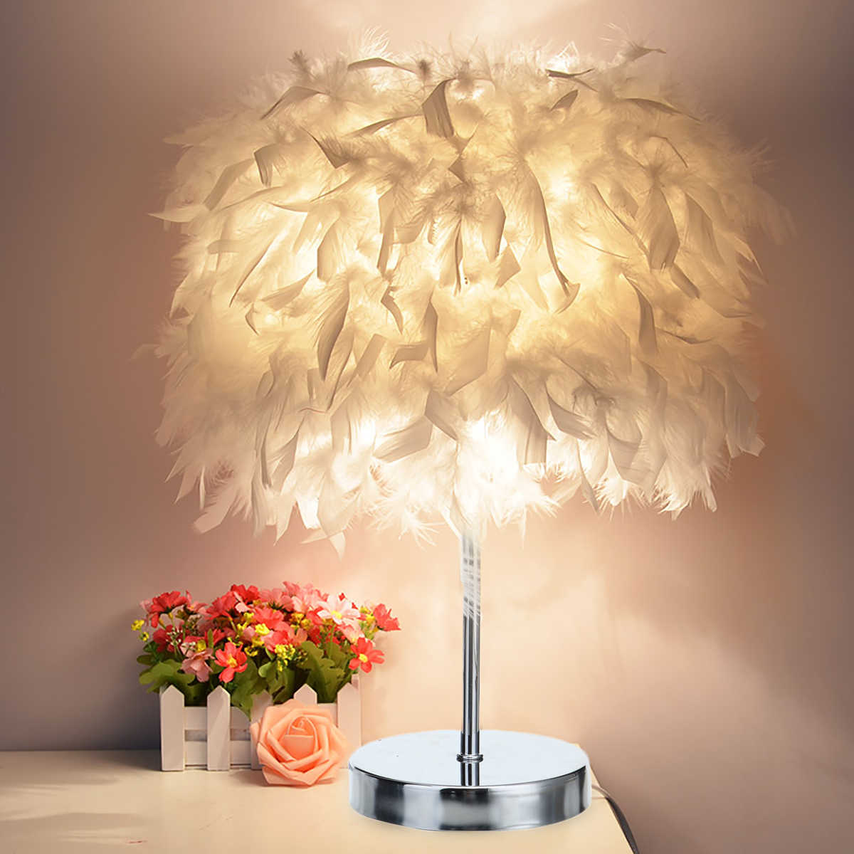 220V Christmas Decor Night Light Soft Vintage Feather Shade Metal Table Lamp Bedside Desk Vintage Bedroom Study Room White