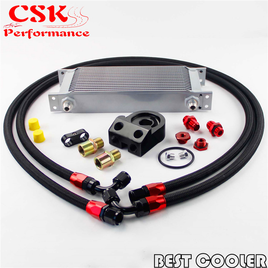 hight resolution of 16 row an 8an universal engine oil cooler kit for evo dsm ek eg sti