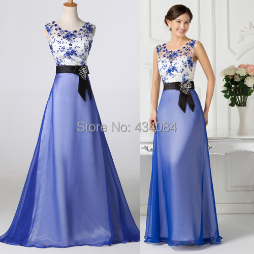 Fiesta Vestido Azul Larga De Bordado Palabra Listones Exquisito qAZxxX4t