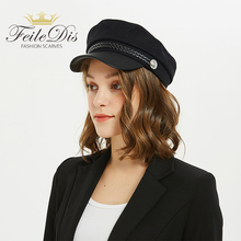 [FEILEDIS]Military Cap Hat Female Winter Hats For Women Men Ladies Army Militar Pu Leather Visor Black Sailor  LR-05