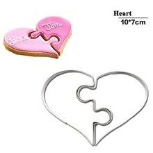 2 шт. формы для печенья в форме сердца левый и правый формочки для печенья забавная Любовь Свадебные Пазлы романтическая форма для печенья штамп для печенья