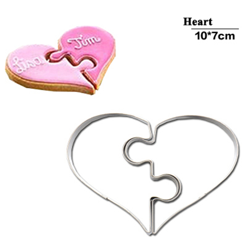 2 pcs heart cookie molds left right heart shaped cookie cutter mold stamp