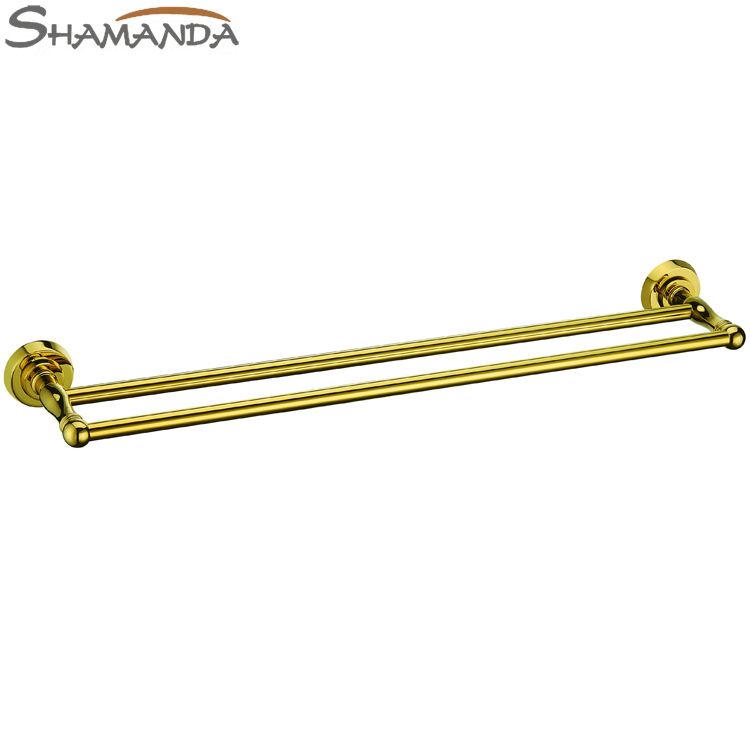 Free Shipping Solid Brass Titanium Gold Finished Double Towel Bar,Golden Towel Rack,Bathroom Accessories Products-64011G free shipping brass & stone golden towel rack gold towel bar towel holder cy008s
