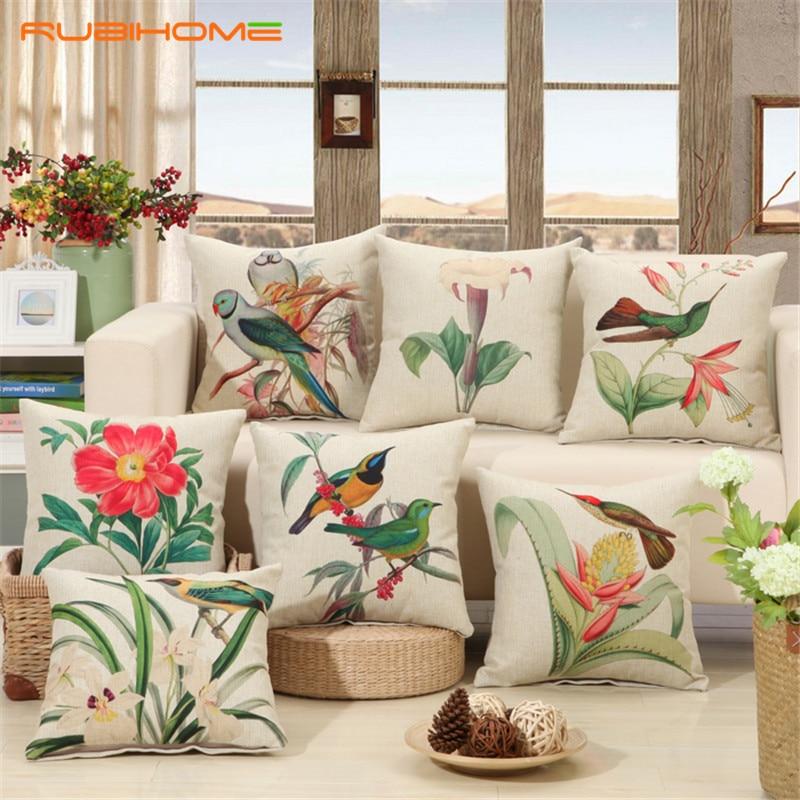 RUBIHOME Birds Print Cushions No inner Design Flower Polyester Home Decor Sofa Car Seat Decorative Throw Pillow Capa De Cojines