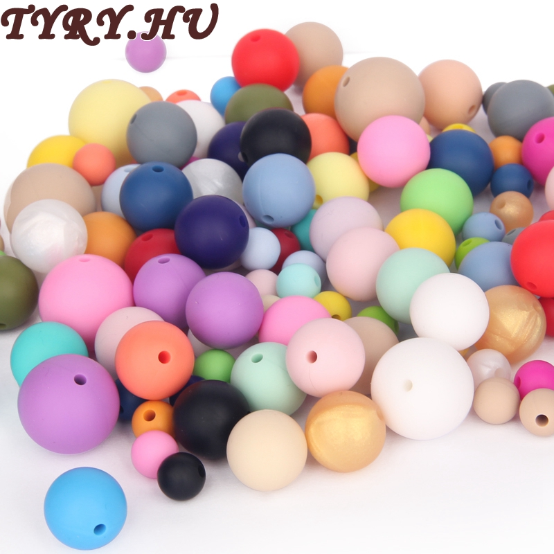 TYRY.HU 9-19mm Silicone Beads Teething Necklace for Moms/Baby DIY Jewelry Baby Chew Nurse Beads Gums Dummy Pacifier Clips Charms