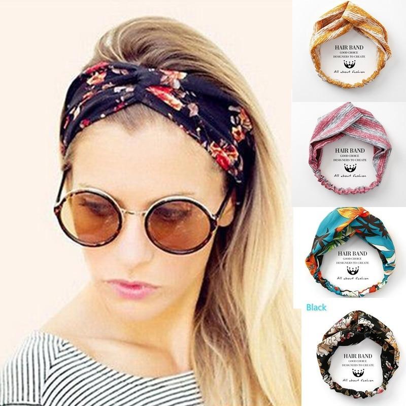 VEKNO Headbands Twisted Hair-Accessories Flower Elastic Girls Bohemia Women for Make-Up