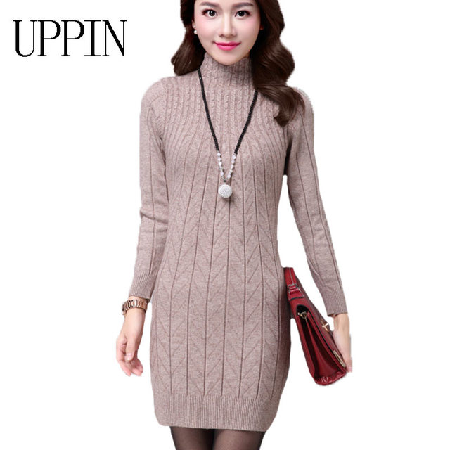 e64416a3d720 UPPIN 2017 Autumn Winter New Middle-aged Women Long Paragraph Wool  Bottoming Shirt Wild Warm Slim Package Sweater Dress Female
