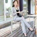 Mujer Traje De Negocios Oficina Formal Trajes Pantalón 2017 Nuevas Mujeres Blancas 2 Unidades Set Tops Y Pantalones del Desgaste del Trabajo