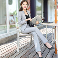 Woman Business Suit Formal Office Pant Suits 2017 New Women White 2 Piece Set Women Tops And Pants Work Wear