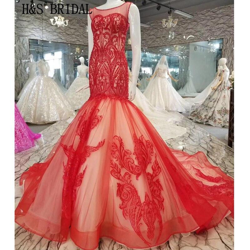 H & S Robe de soirée de mariée sirène rouge luxe perles robes de soirée Robe de soirée longue élégante femme robes formelles