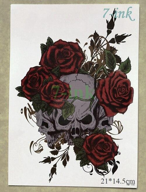 바위 두개골 여성을위한 임시 문신 스티커 남자 바디 아트 플래시 가짜 문신 스티커 대형 21 * 14.5cm