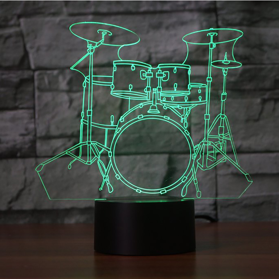Creative Drum 3D Night Light Creative Electric Illusion 3d Lamp LED 7 Color Changing USB Touch Desk Lamp For Kid's Gift