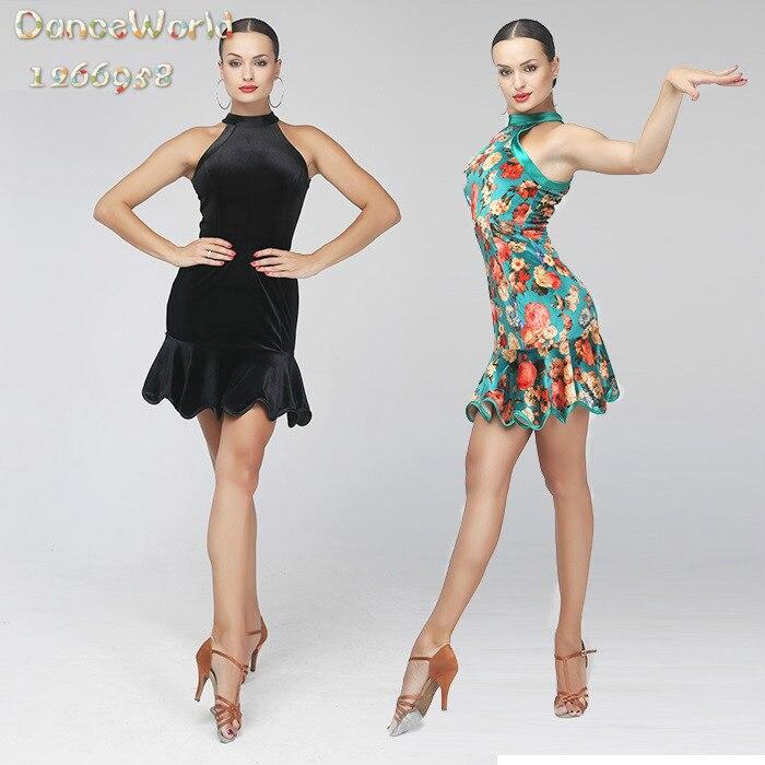 Robe de danse latine sexy en velours sexy robe salsa pour femmes