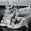 Выпускного вечера вечера ну вечеринку платья леди люкс свадебные туфли женский клин каблук сандалии банкетный принцесса кристалл алмаза обувь