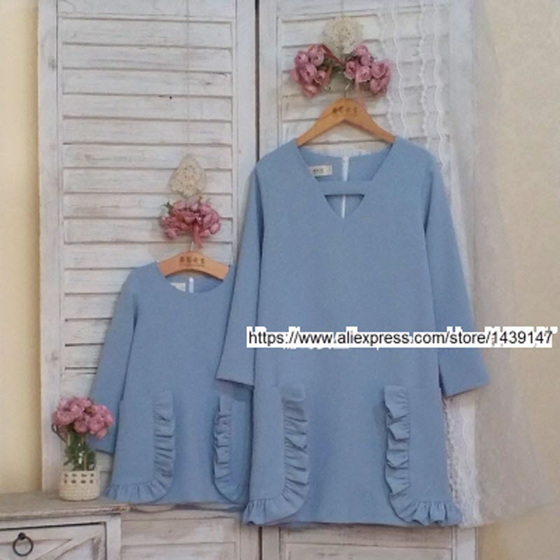 Children clothing Mother and Daughter Dresses solid light blue,2-10 years old Child baby Girl Clothes, Women plus Large size 4XL children clothing mother daughter winter coat cotton jacket pink 2 10 years old child baby girl clothes women large size 4xl
