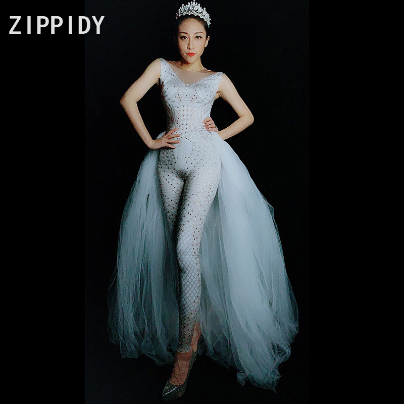 เงิน Rhinestones Spandex Jumpsuit ตาข่ายสีขาวหางวันเกิดฉลองเครื่องแต่งกาย Bodysuit ผู้หญิง Singer Dance ชุด Leggings-ใน จั๊มพ์สูท จาก เสื้อผ้าสตรี บน   1