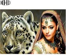 MHD 5d DIY Diamond Embroidery Woman Big Cat Diamond Painting Full Round Mosaic Cross Stitch Rhinestone