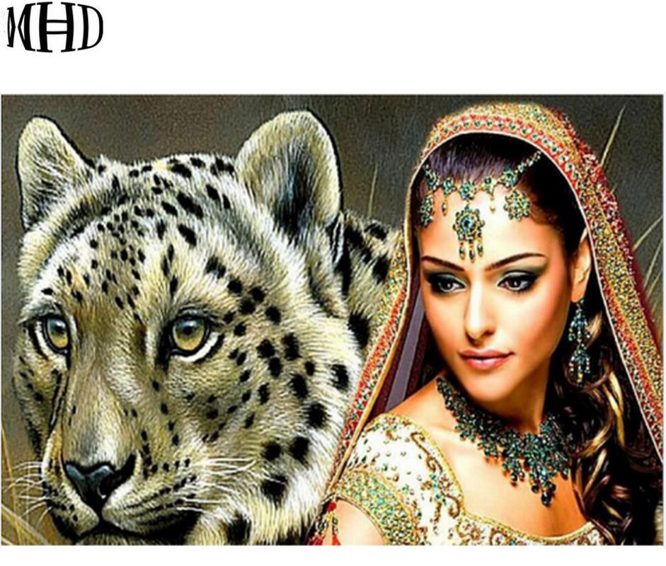 MHD 5d DIY Diamond Embroidery Woman font b Big b font Cat Diamond Painting Full Round
