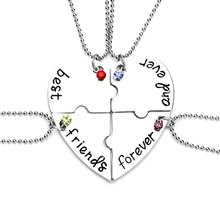 4 Pcs Hot Sale Heart Pendant Best Friends Forever Necklace Stitching Friendship Pendant Necklaces 2017 Christmas Necklace Gifts