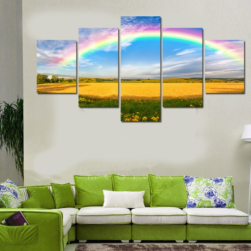 5 PCS Set The Colours Of Rainbow Oil Painting Pop Hd Rainbow Scenery Wall Art Canvas Print Painting Living Room Home Decoration