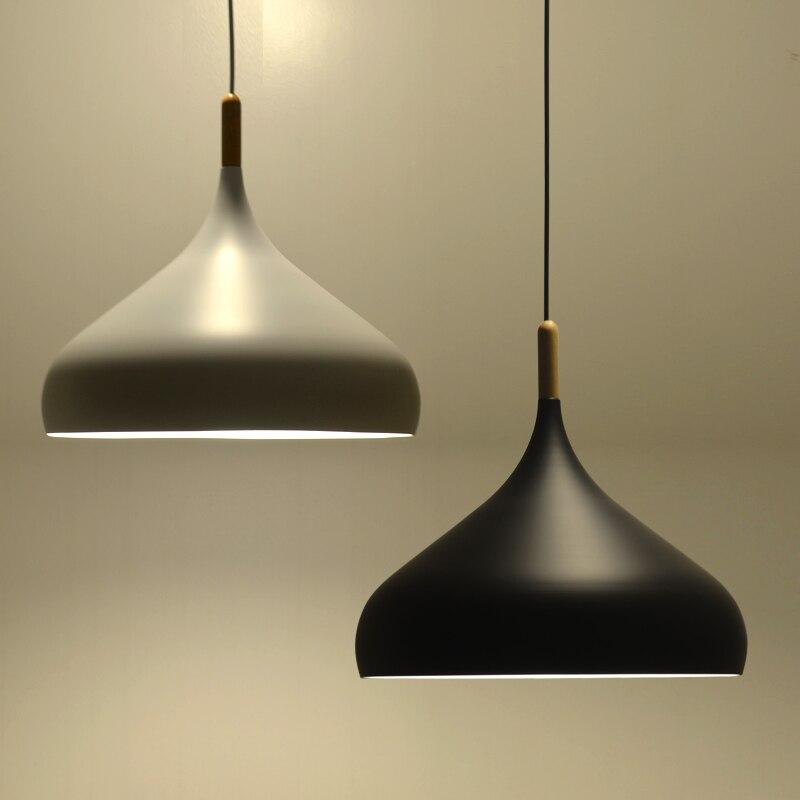 2015 Nordic New Aluminum Pendant Light Fixtures White/Black Muuto Dinning Room Wood Light Lamps Modern Restaurant Lighting New