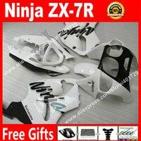 ABS plastic Fairings for bodywork 1996 2003 Kawasaki Ninja ZX7R 96 03 white black motorcycle fairing LI98