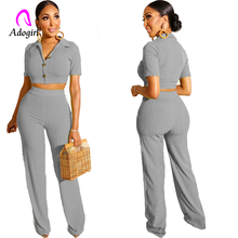 Adogirl Work Women 2019 New Arrive Sexy Solid 2 Pieces Sets Lady Short Sleeve Crop Tops Long Straight Pants Outfits