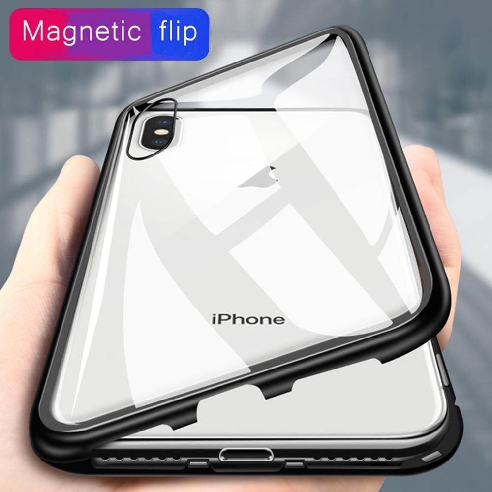 566b868e174 Magnético Flip casos para iPhone X 7 7 6 6 s Plus 10 de lujo de cristal  templado volver imán incorporado teléfono cubierta para iPhone XS Max XR en  Casos ...