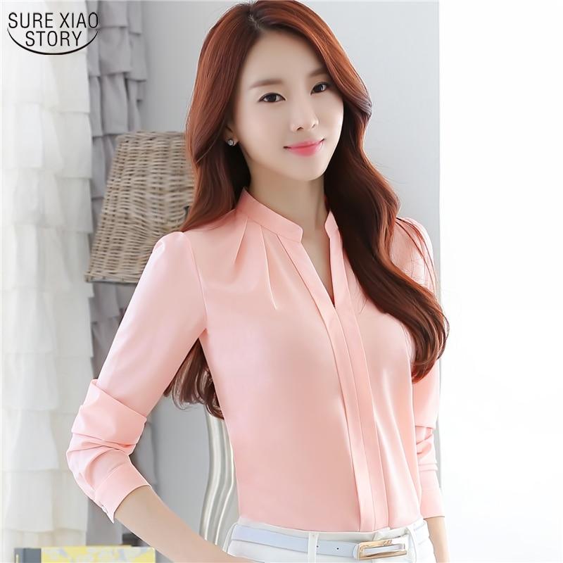 2016 New Long Sleeve fashion Chiffon Blouse Tops women Office Work Wear elegant casual Shirts Blousa 880D 33