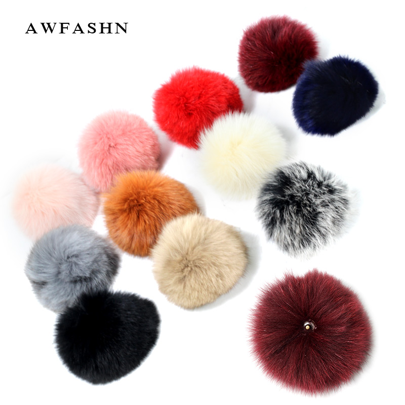 Real Fox Fur Pompom For Women HatS Caps Big Natural Raccoon Fur Pompon for knitted   beanies     Skullie   15CM high quality