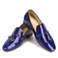 2018 new designs royal blue Patent Leather men tassel shoes Fashion Party and Wedding men loafers size men casual big shoes