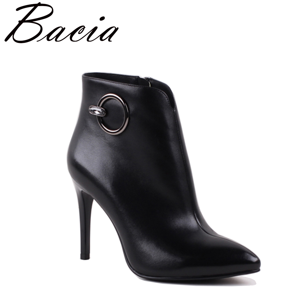 Bacia Sexy Women Boots Genuine Leather Winter High Heels Ankle Boots Shoes Women Fall Ladies Short Boots NEW Zip Big Size SA083 warm winter fur leather women ankle boots high heels sexy comfortable shoes ladies short boots cutout shoes big size