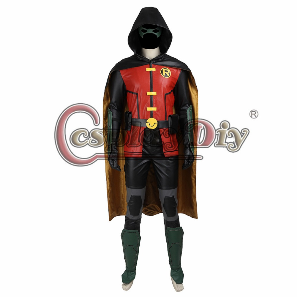 Cosplaydiy Justice League vs. Teen Titans Robin Cosplay Costume Adult Men Halloween Cosplay Outfit Custom Made