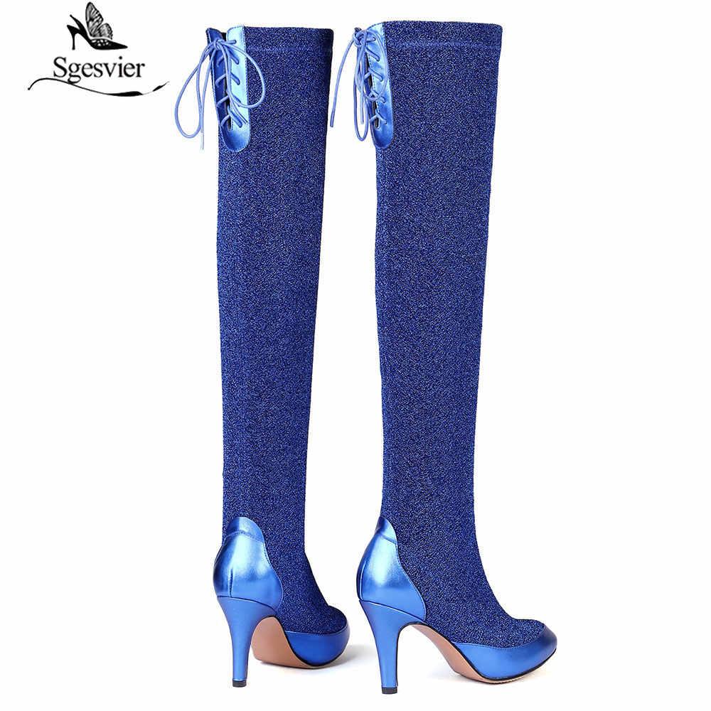 Sgesvier zima krowa zamszowe udo wysokie buty dla kobiet buty na cienkich wysokich obcasach stretch nad kolana buty wysokiej jakości sexy slim buty B960