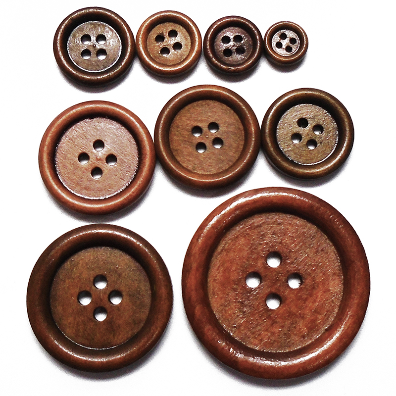 28D 50 x 4 HOLE ROUND WOODEN BUTTONS~15mm ~ Sewing ~ embellishment ~ jewellery