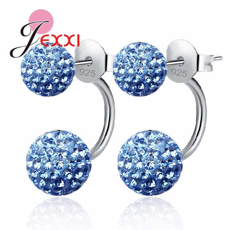 11 Colors Shining Cubic Zirconia Genuine 925 Sterling Silver Double Ball Stud Earrings For Women Ladies Crystal Jewelry
