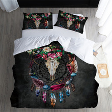 Home Textiles King Size Bedding Set Luxury 3d Sheep Skull Dream Catcher Black Duvet Cover 3Pcs Colorful And Bed Sets