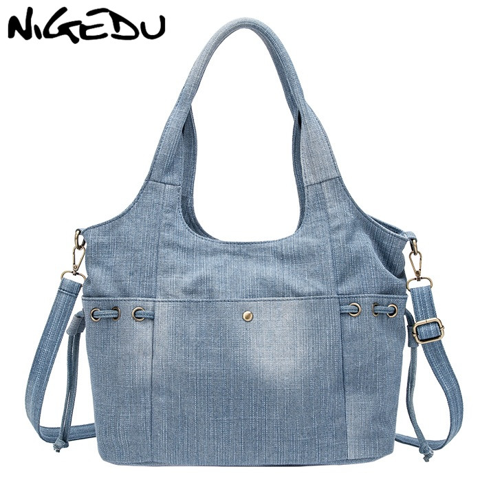 Denim Women Shoulder Bag New Fashion Jeans High Quality Crossbody Bag Female Big Tote Travel Handbag Large Mochila Bolsa Blue